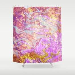 Vibrant Glitter Marble Shower Curtain