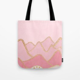 Pink Mountains with gold dots Tote Bag