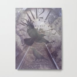 Crow Railroad Tracks Clock Fantasy Endless Rail, She Said A738 Metal Print