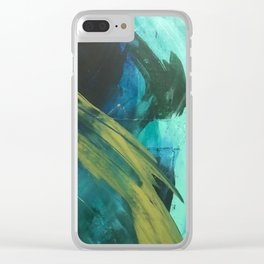 Align: a bold, abstract minimal piece in blues and greens Clear iPhone Case
