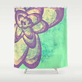 Purple & Green Flower Shower Curtain