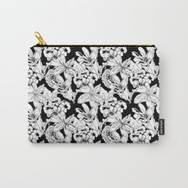 Nouveau Floral Black and White Carry-All Pouch