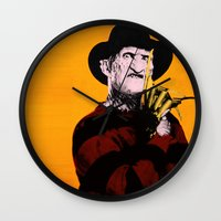 freddy krueger Wall Clocks featuring Horror Series Pop Art: Freddy Krueger by AlyBee