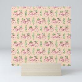 Pink floral bicycle pattern Mini Art Print