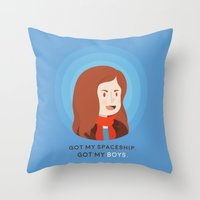 amy pond Throw Pillows featuring Amy Pond by Addie Thompson