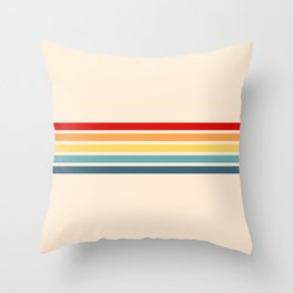 Takaakira - Classic Rainbow Retro Stripes Throw Pillow
