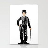 charlie chaplin Stationery Cards featuring Charlie Chaplin by A Deniz Akerman