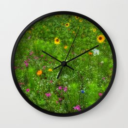 Colorful Field of Wildflowers Wall Clock