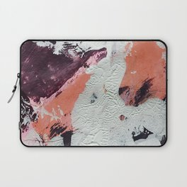 Taboo: a vibrant, abstract, mixed-media piece in purple, orange, and light blue Laptop Sleeve