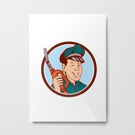 Gas Attendant Nozzle Winking Circle Cartoon Metal Print