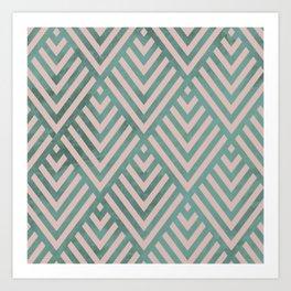 ROMBI PINK & GREEN Art Print
