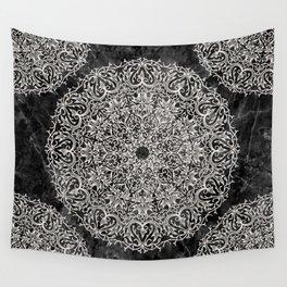 MANDALA ON BLACK MARBLE Wall Tapestry