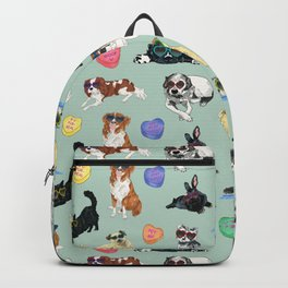 Valentine's Day Candy Hearts Puppy Love - Mint Green Backpack