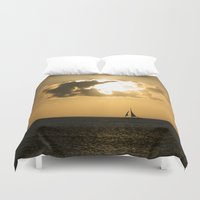 sailboat Duvet Covers featuring Sailboat Sunset by Bizzack Photography