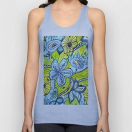 Turquoise, Yellow, and Green Floral Unisex Tank Top