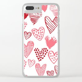 Hearts red and white hand drawn minimal modern fun valentines day gifts Clear iPhone Case