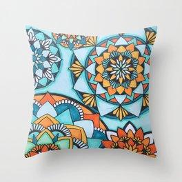 Orange and Turquoise Mandalas Throw Pillow