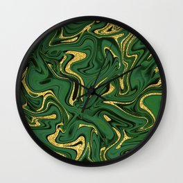 Luxury Marble Pattern in Emerald, Gold, Green and Copper Wall Clock