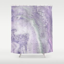 purple and white Shower Curtain