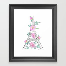 Eiffel tower and peonies Framed Art Print