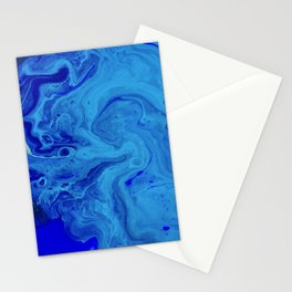 All the Blues, Abstract Fluid Acrylic Art Print Stationery Cards