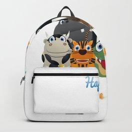 Happy kids love animals Backpack