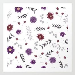 Purple Fall Flower Print Art Print