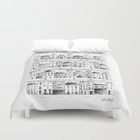 baloon Duvet Covers featuring Cityscape from baloon flight by posterilla