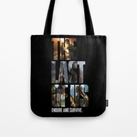 last of us Tote Bags featuring The Last of Us by fardeen