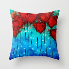 Hearts On Fire - Romantic Art By Sharon Cummings Throw Pillow