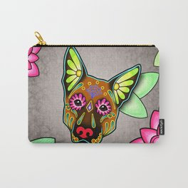 German Shepherd in Brown - Day of the Dead Sugar Skull Dog Carry-All Pouch