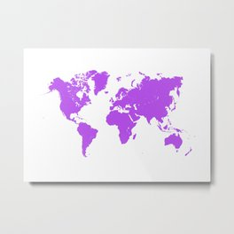 violet map of the world Metal Print