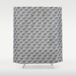 Vintage Japanese Waves, Gray / Grey and White Shower Curtain