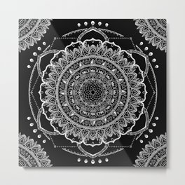 Black and White Geometric Mandala Metal Print