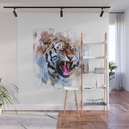 Snarling Wild Tiger with Paint Drips Wall Mural