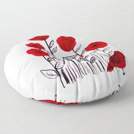 Tall poppies and red bird Floor Pillow