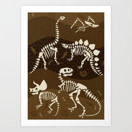 Fossil Dinosaur Pattern Art Print