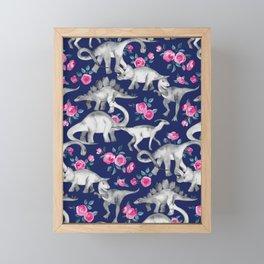 Dinosaurs and Roses on Dark Blue Purple Framed Mini Art Print