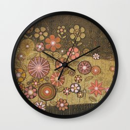 Wild Flower Collagraph Wall Clock