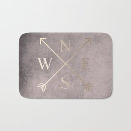 Gold on Pink Blush Distressed Compass Adventure Design Bath Mat