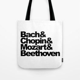 Bach and Chopin and Mozart and Beethoven, sticker, circle, white Tote Bag