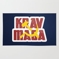 soviet Area & Throw Rugs featuring Krav Maga Russia Soviet Union by crouchingpixel