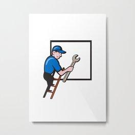 Handyman Climbing Ladder Window Cartoon Metal Print