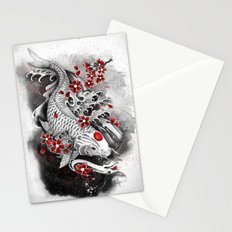 White Koi and sakuras Stationery Cards