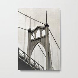ST. JOHNS BRIDGE - PORTLAND OREGON - IN BLACK & WHITE Metal Print