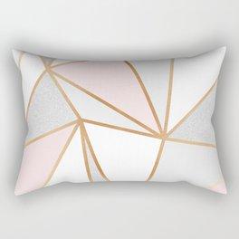 Pink, Grey & Gold Geo Rectangular Pillow