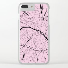Paris France Minimal Street Map - Pretty Pink on Black Clear iPhone Case