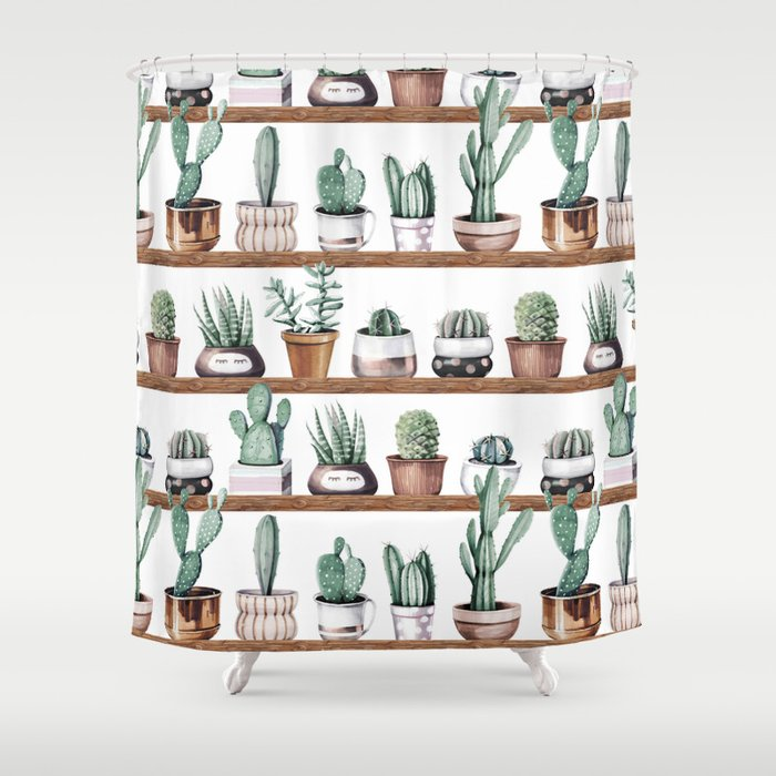 Cactus Shelf Rose Gold Green Shower Curtain