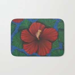 Tropical Hibiscus in Red island art painting Bath Mat