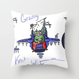 Granny Knit Whit Throw Pillow